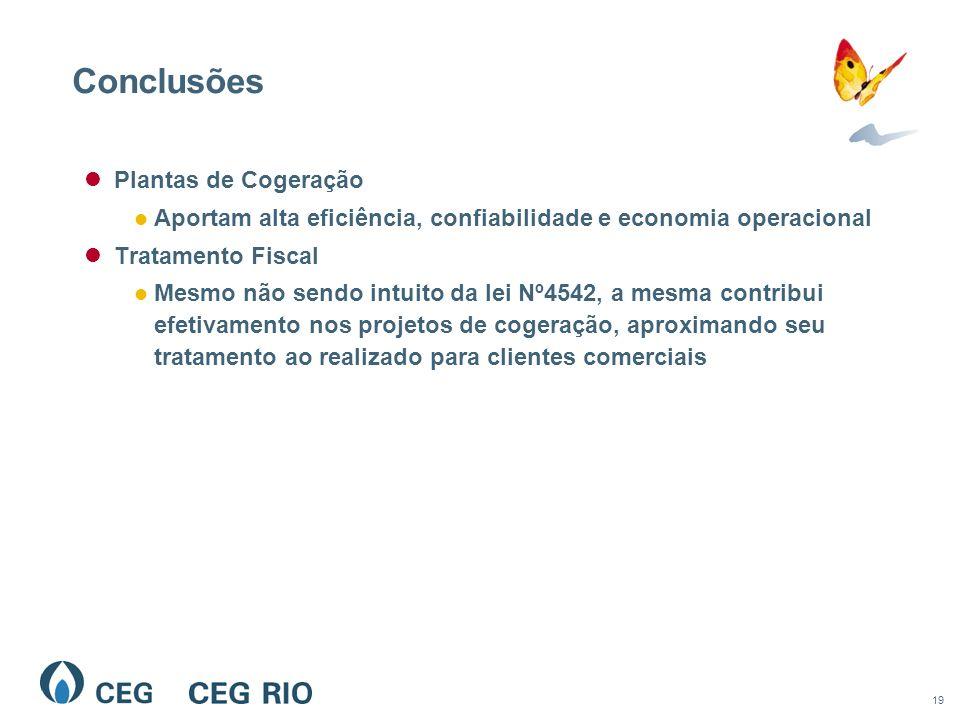 19 Conclusões Plantas de Cogeração Aportam alta eficiência, confiabilidade e economia operacional Tratamento Fiscal Mesmo não sendo intuito da lei Nº4