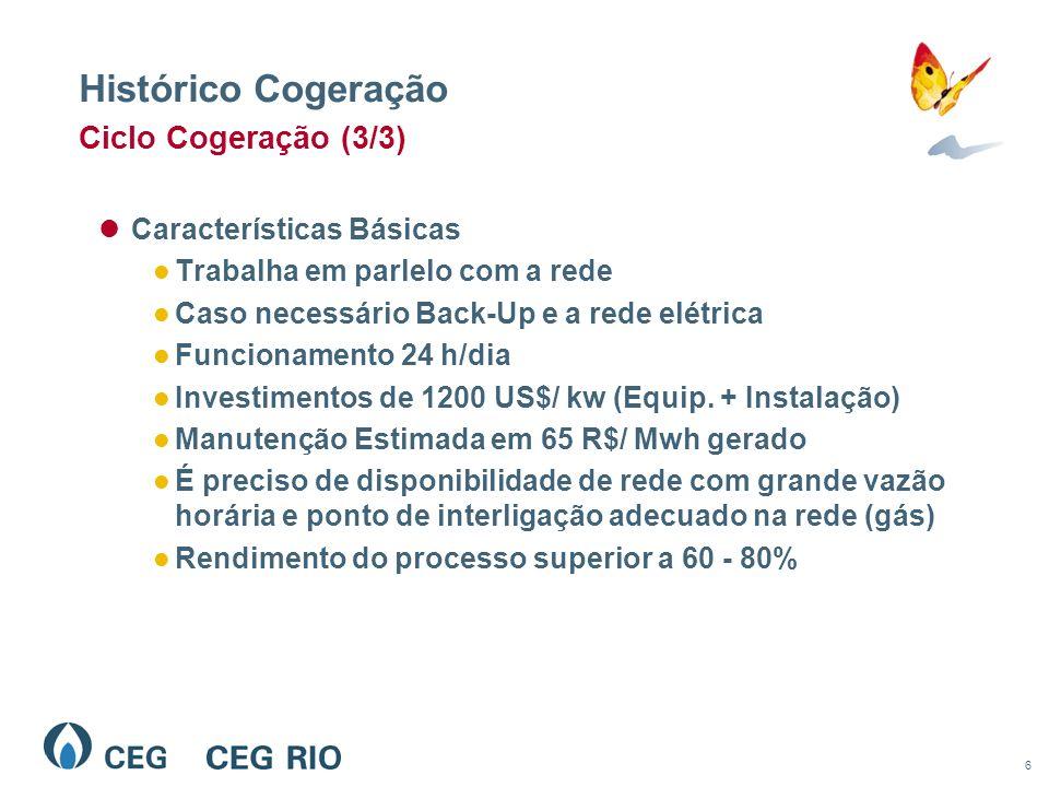 6 Histórico Cogeração Ciclo Cogeração (3/3) Características Básicas Trabalha em parlelo com a rede Caso necessário Back-Up e a rede elétrica Funcionamento 24 h/dia Investimentos de 1200 US$/ kw (Equip.