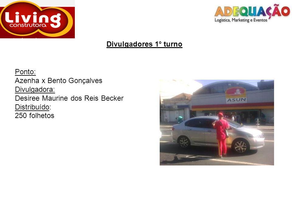 Divulgadores 1° turno Ponto: Bento Gonçalves x Princesa Isabel Divulgadores: Darciele Vargas Alpi x Fátima Rosane Scheffer