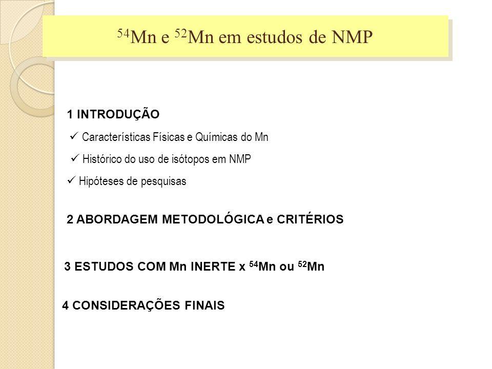 4 CONSIDERAÇÕES FINAIS 1 INTRODUÇÃO Características Físicas e Químicas do Mn Histórico do uso de isótopos em NMP Hipóteses de pesquisas 2 ABORDAGEM ME