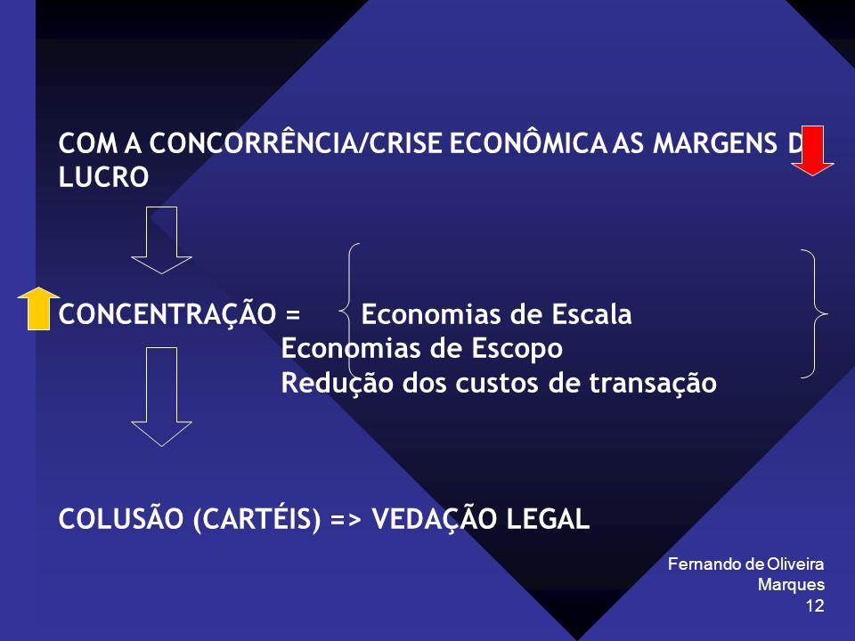 Fernando de Oliveira Marques 12 COM A CONCORRÊNCIA/CRISE ECONÔMICA AS MARGENS DE LUCRO CONCENTRAÇÃO = Economias de Escala Economias de Escopo Redução