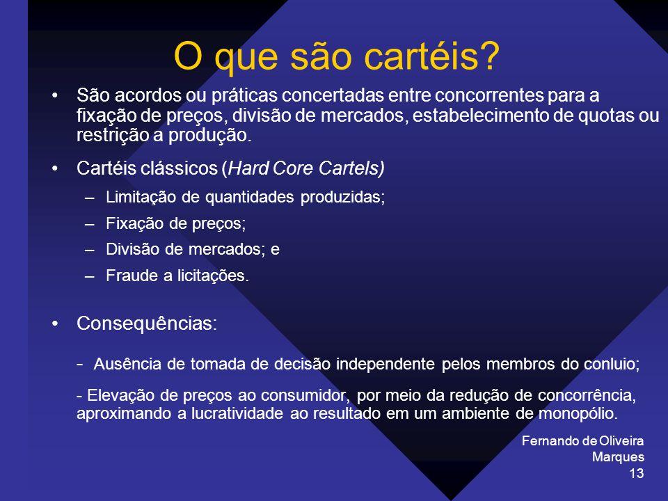Fernando de Oliveira Marques 13 O que são cartéis? São acordos ou práticas concertadas entre concorrentes para a fixação de preços, divisão de mercado