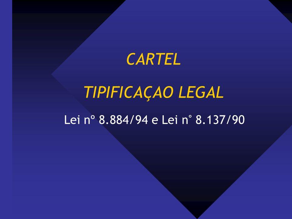 CARTEL TIPIFICAÇAO LEGAL Lei nº 8.884/94 e Lei n° 8.137/90