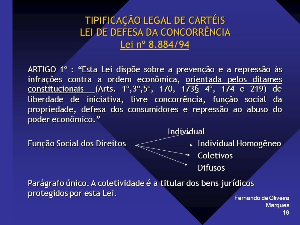 Fernando de Oliveira Marques 19 TIPIFICAÇÃO LEGAL DE CARTÉIS LEI DE DEFESA DA CONCORRÊNCIA LEI DE DEFESA DA CONCORRÊNCIA Lei nº 8.884/94 ARTIGO 1º : E