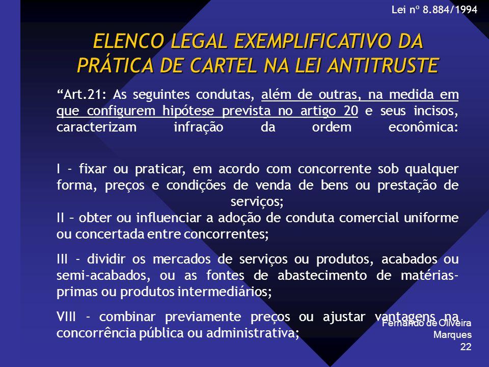 Fernando de Oliveira Marques 22 ELENCO LEGAL EXEMPLIFICATIVO DA PRÁTICA DE CARTEL NA LEI ANTITRUSTE Art.21: As seguintes condutas, além de outras, na