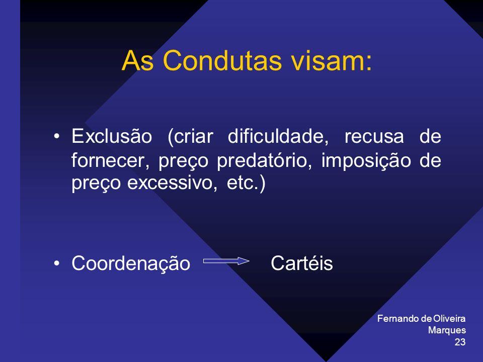 Fernando de Oliveira Marques 23 As Condutas visam: Exclusão (criar dificuldade, recusa de fornecer, preço predatório, imposição de preço excessivo, et