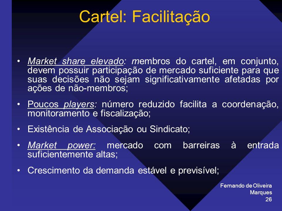 Fernando de Oliveira Marques 26 Cartel: Facilitação Market share elevado: membros do cartel, em conjunto, devem possuir participação de mercado sufici