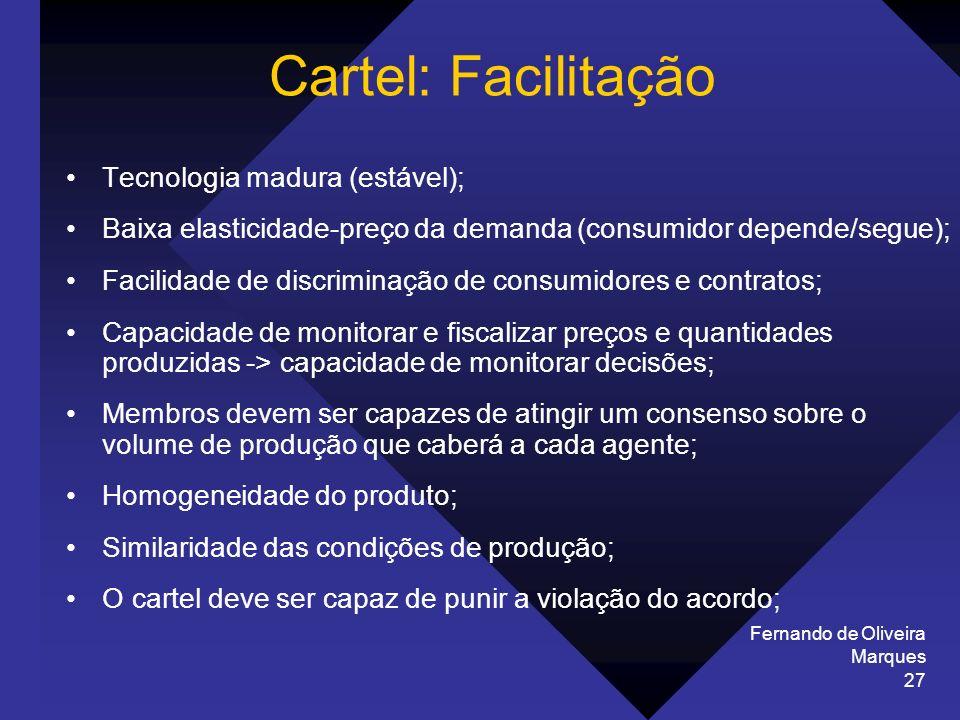Fernando de Oliveira Marques 27 Tecnologia madura (estável); Baixa elasticidade-preço da demanda (consumidor depende/segue); Facilidade de discriminaç