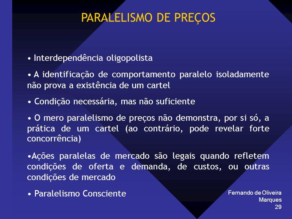 Fernando de Oliveira Marques 29 PARALELISMO DE PREÇOS Interdependência oligopolista A identificação de comportamento paralelo isoladamente não prova a