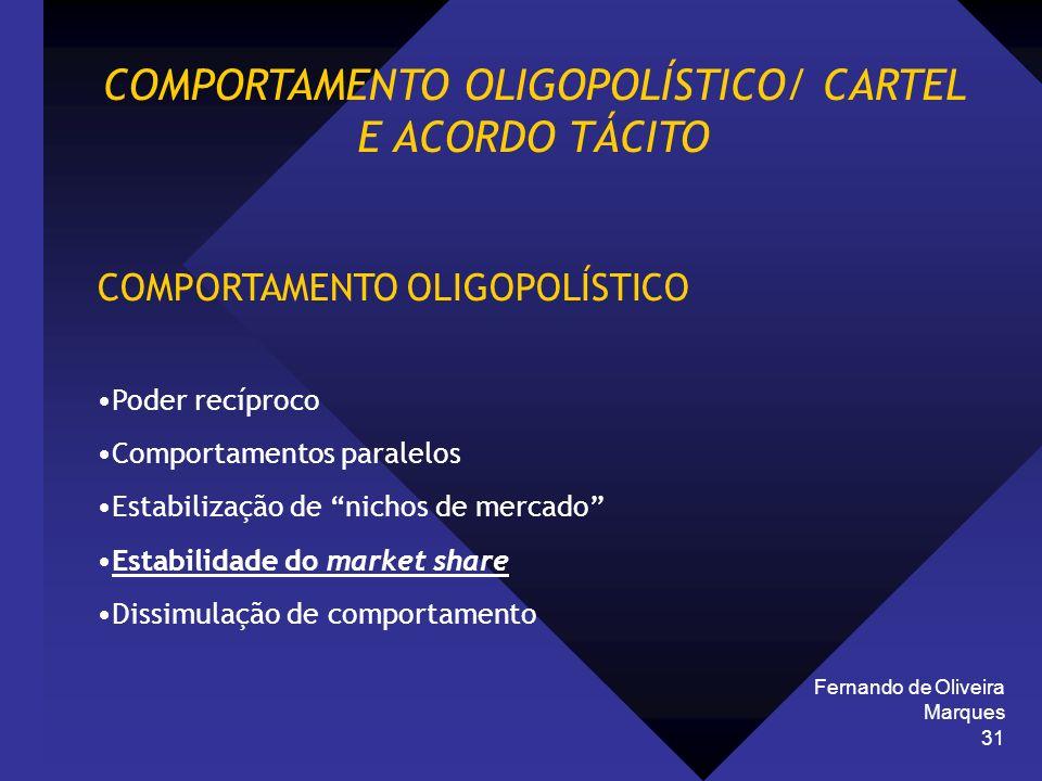 Fernando de Oliveira Marques 31 COMPORTAMENTO OLIGOPOLÍSTICO/ CARTEL E ACORDO TÁCITO COMPORTAMENTO OLIGOPOLÍSTICO Poder recíproco Comportamentos paral