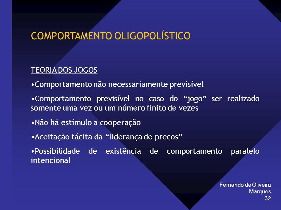Fernando de Oliveira Marques 32 COMPORTAMENTO OLIGOPOLÍSTICO TEORIA DOS JOGOS Comportamento não necessariamente previsível Comportamento previsível no