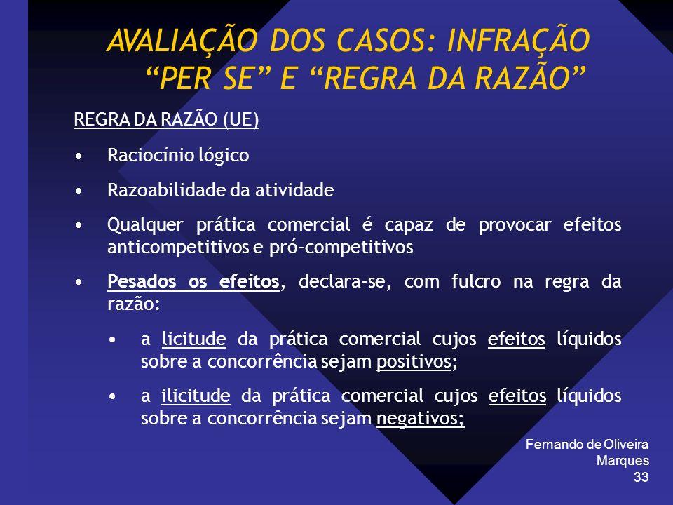 Fernando de Oliveira Marques 33 AVALIAÇÃO DOS CASOS: INFRAÇÃO PER SE E REGRA DA RAZÃO REGRA DA RAZÃO (UE) Raciocínio lógico Razoabilidade da atividade