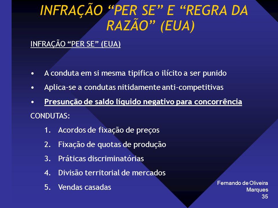 Fernando de Oliveira Marques 35 INFRAÇÃO PER SE E REGRA DA RAZÃO (EUA) INFRAÇÃO PER SE (EUA) A conduta em si mesma tipifica o ilícito a ser punido Apl