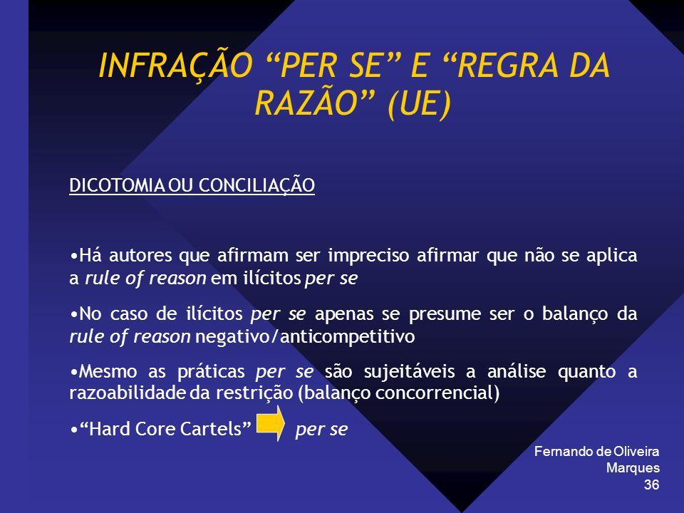 Fernando de Oliveira Marques 36 INFRAÇÃO PER SE E REGRA DA RAZÃO (UE) DICOTOMIA OU CONCILIAÇÃO Há autores que afirmam ser impreciso afirmar que não se