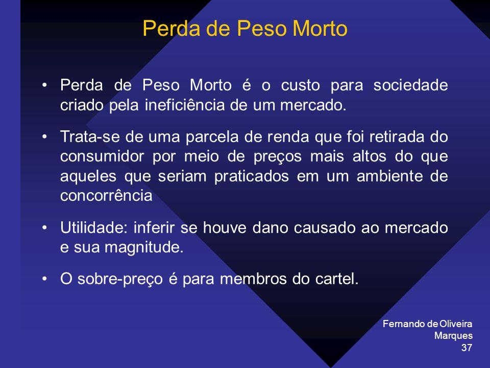 Fernando de Oliveira Marques 37 Perda de Peso Morto Perda de Peso Morto é o custo para sociedade criado pela ineficiência de um mercado. Trata-se de u