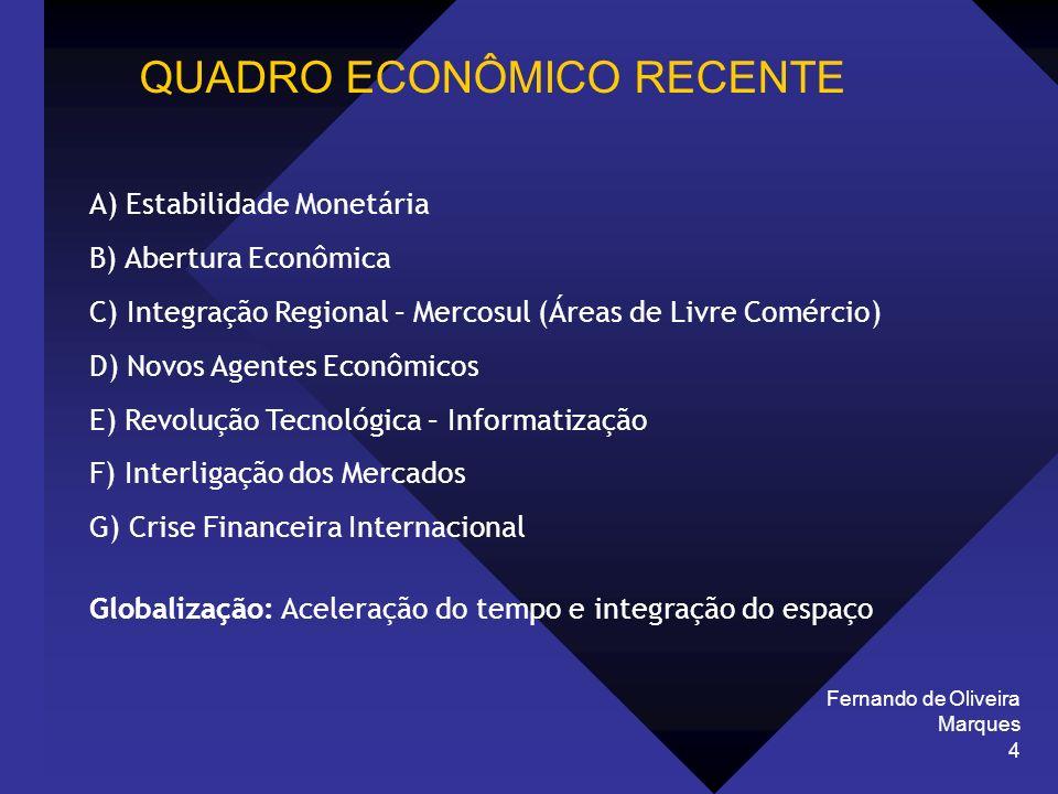 Fernando de Oliveira Marques 4 QUADRO ECONÔMICO RECENTE A) Estabilidade Monetária B) Abertura Econômica C) Integração Regional – Mercosul (Áreas de Li