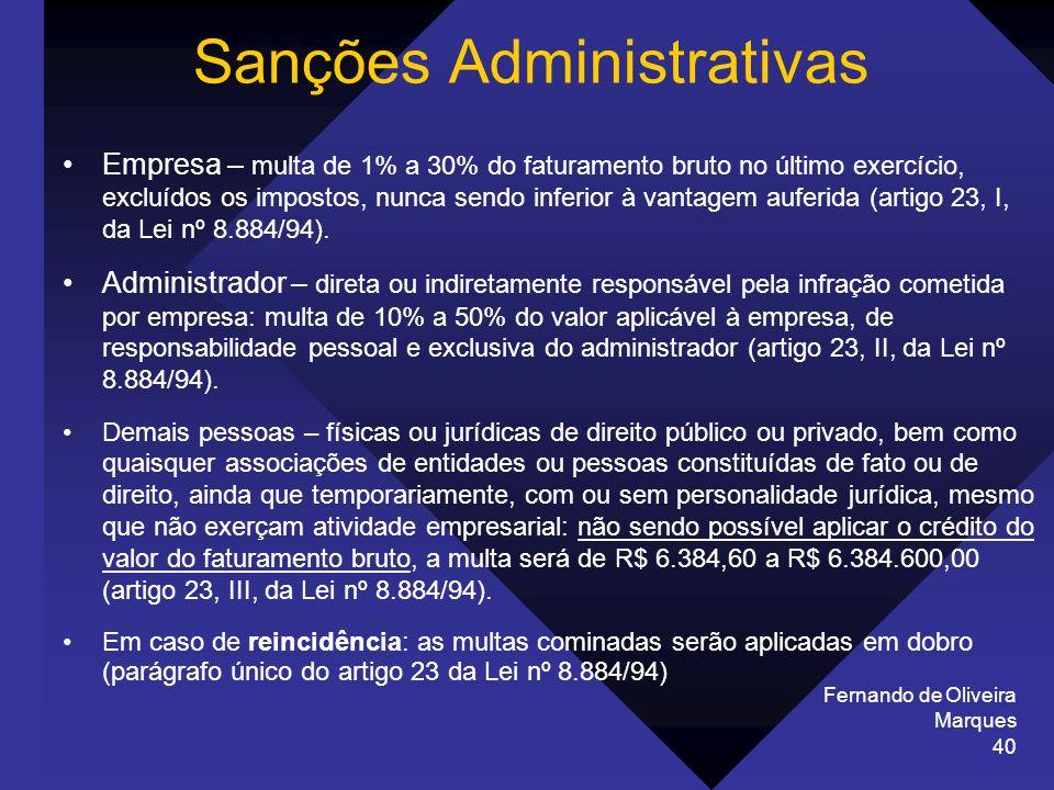 Fernando de Oliveira Marques 40 Sanções Administrativas Empresa – multa de 1% a 30% do faturamento bruto no último exercício, excluídos os impostos, n