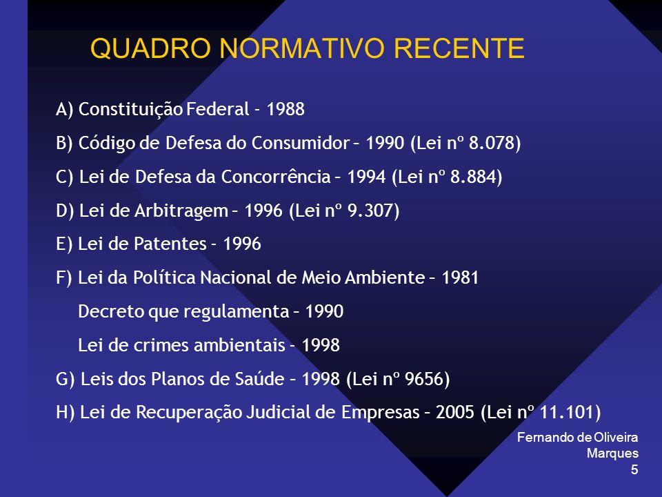 Fernando de Oliveira Marques 5 QUADRO NORMATIVO RECENTE A) Constituição Federal - 1988 B) Código de Defesa do Consumidor – 1990 (Lei nº 8.078) C) Lei