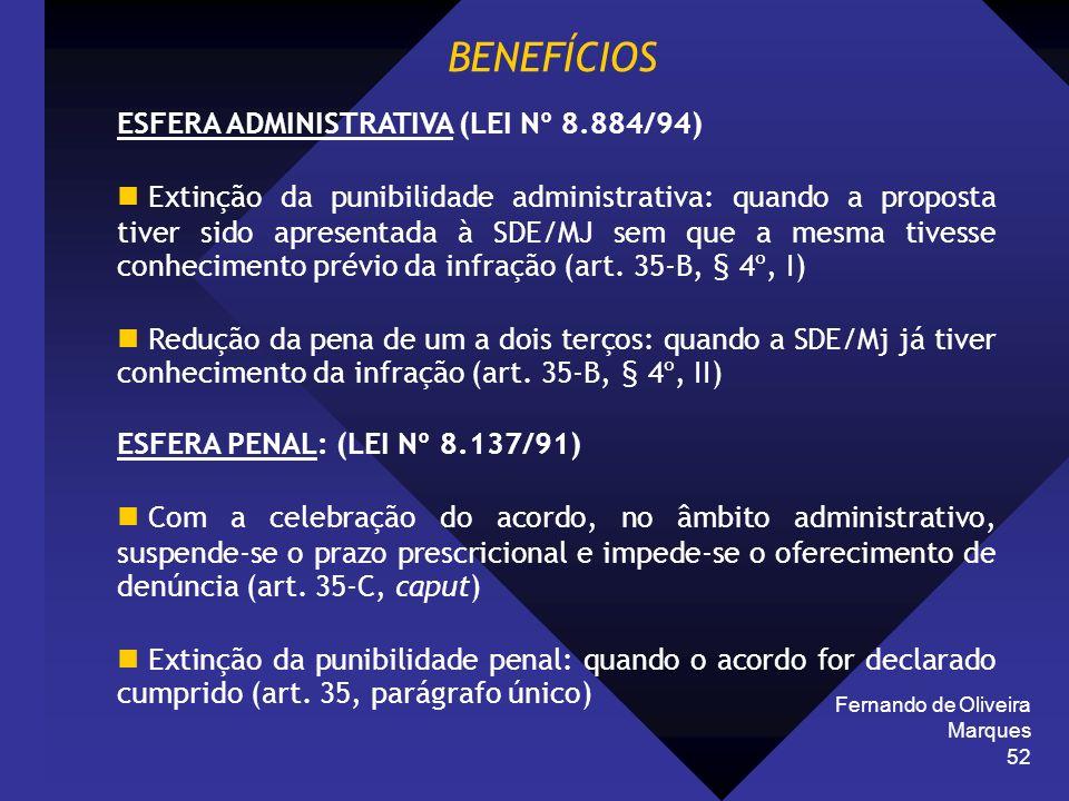 Fernando de Oliveira Marques 52 BENEFÍCIOS ESFERA ADMINISTRATIVA (LEI Nº 8.884/94) Extinção da punibilidade administrativa: quando a proposta tiver si