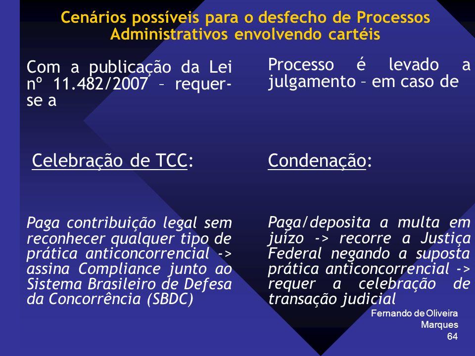 Fernando de Oliveira Marques 64 Cenários possíveis para o desfecho de Processos Administrativos envolvendo cartéis Com a publicação da Lei nº 11.482/2