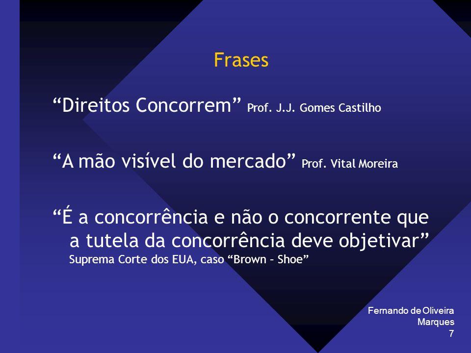Fernando de Oliveira Marques 7 Frases Direitos Concorrem Prof. J.J. Gomes Castilho A mão visível do mercado Prof. Vital Moreira É a concorrência e não