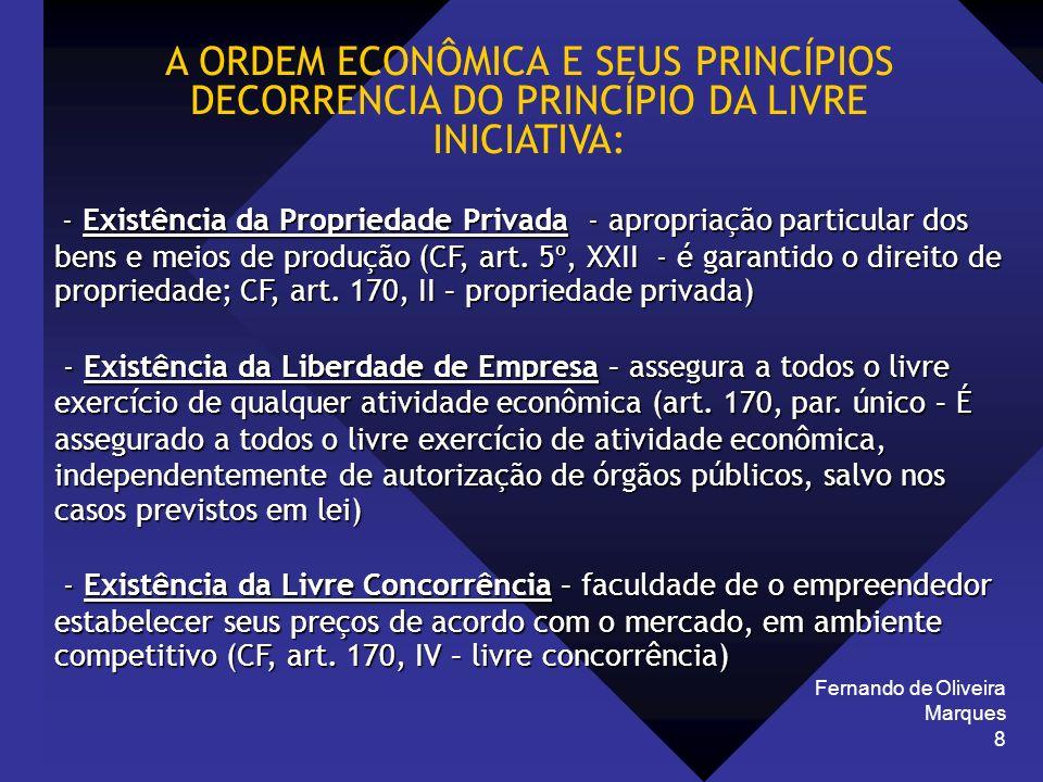 Fernando de Oliveira Marques 8 A ORDEM ECONÔMICA E SEUS PRINCÍPIOS DECORRENCIA DO PRINCÍPIO DA LIVRE INICIATIVA: - Existência da Propriedade Privada -