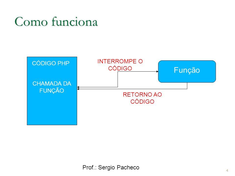 Prof.: Sergio Pacheco Exemplo 2 função <?php function soma (){ $a = 1; $b = 4; $soma =($a+$b)+ ++$a - ++$b*3; return $soma; } echo Vamos incrementar decrementar e somar ; $recebendo=soma(); echo O resultado é ::: $recebendo ; ?> 5