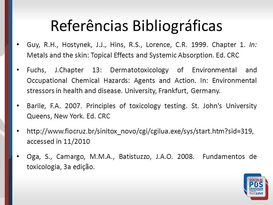 Referências Bibliográficas Guy, R.H., Hostynek, J.J., Hins, R.S., Lorence, C.R.