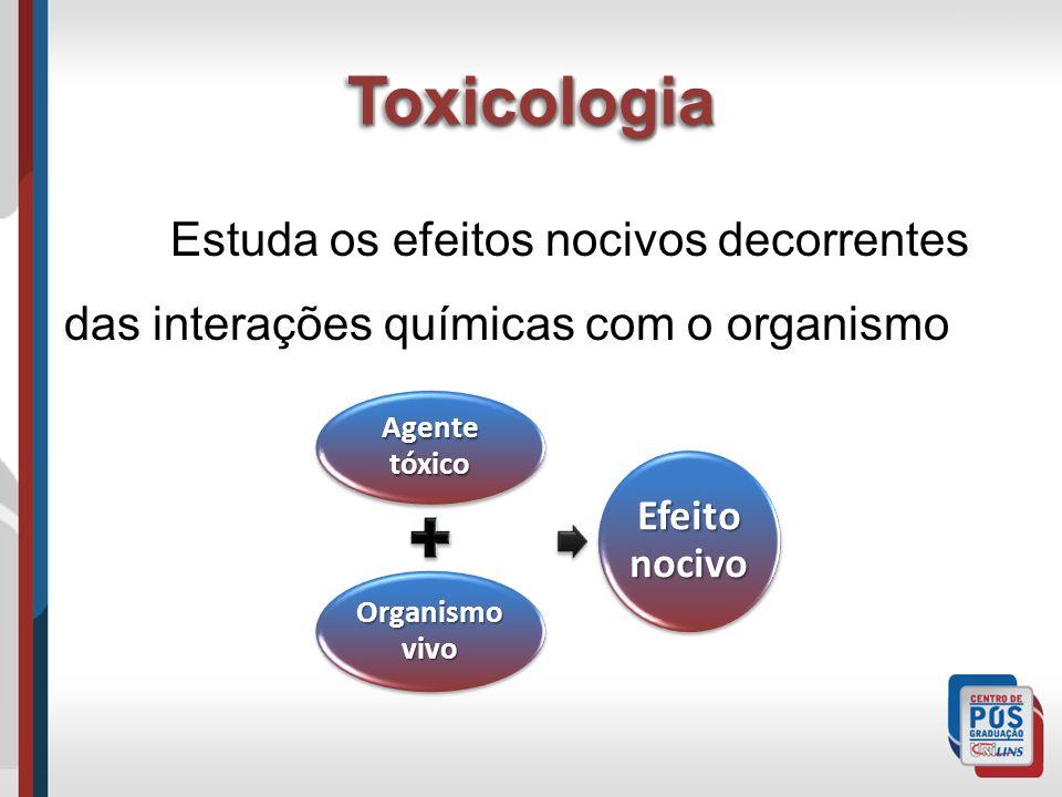 ToxicologiaToxicologia Estuda os efeitos nocivos decorrentes das interações químicas com o organismo Agente tóxico Organismo vivo Efeito nocivo