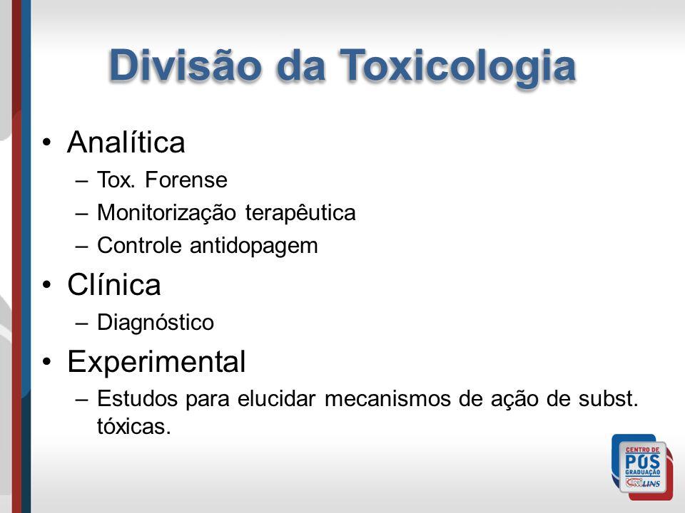 Analítica –Tox. Forense –Monitorização terapêutica –Controle antidopagem Clínica –Diagnóstico Experimental –Estudos para elucidar mecanismos de ação d