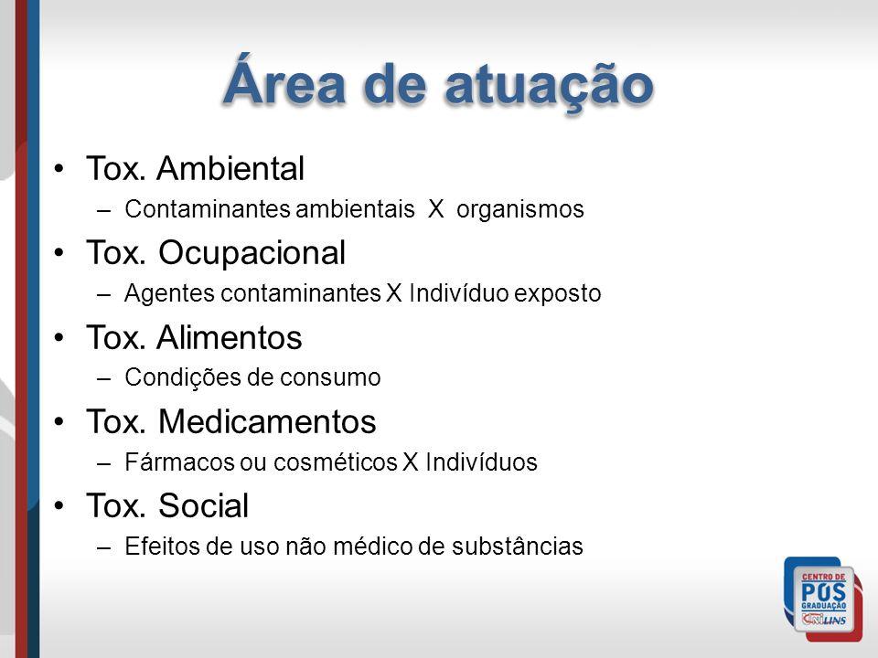 Tox. Ambiental –Contaminantes ambientais X organismos Tox. Ocupacional –Agentes contaminantes X Indivíduo exposto Tox. Alimentos –Condições de consumo