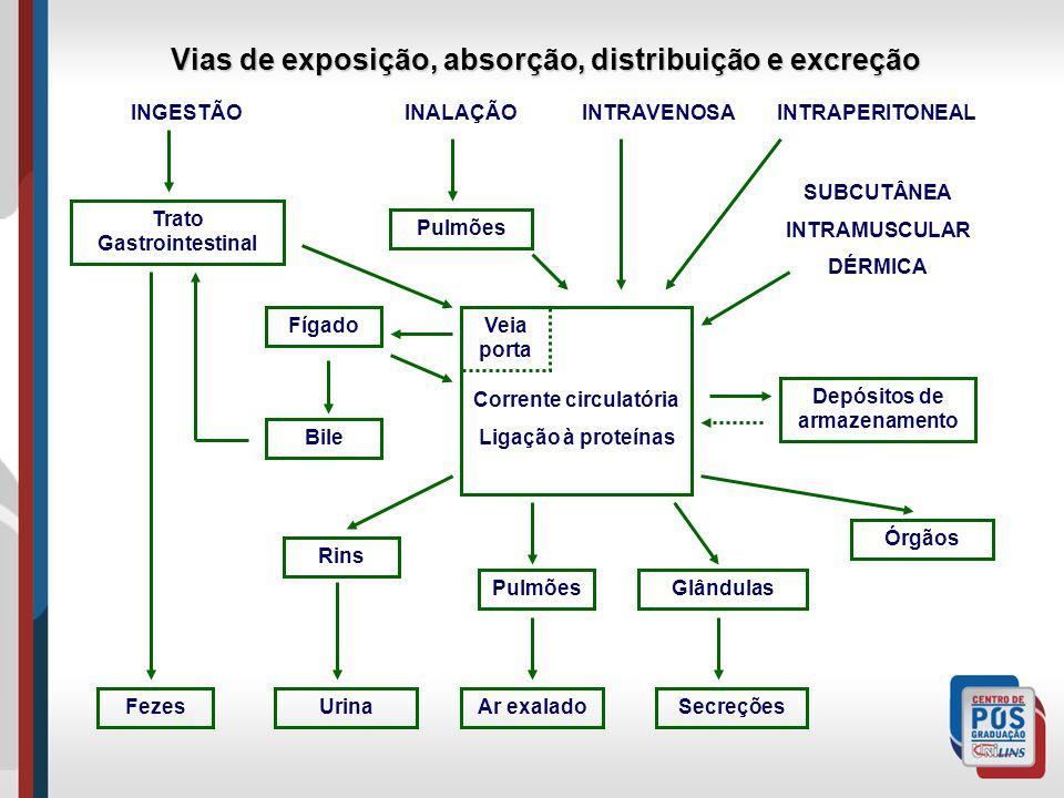 Trato Gastrointestinal Pulmões Fígado Bile Rins Pulmões Depósitos de armazenamento Órgãos Glândulas INGESTÃO INALAÇÃO INTRAVENOSA INTRAPERITONEAL SUBCUTÂNEA INTRAMUSCULAR DÉRMICA Corrente circulatória Ligação à proteínas Veia porta Vias de exposição, absorção, distribuição e excreção FezesUrinaAr exaladoSecreções