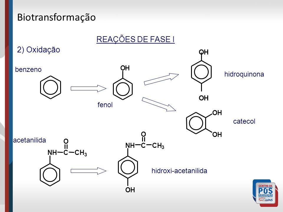REAÇÕES DE FASE I 2) Oxidação OH OH OH OH OH NHCCH 3 O fenol benzeno hidroquinona catecol acetanilida hidroxi-acetanilida NHCCH 3 O OH Biotransformação
