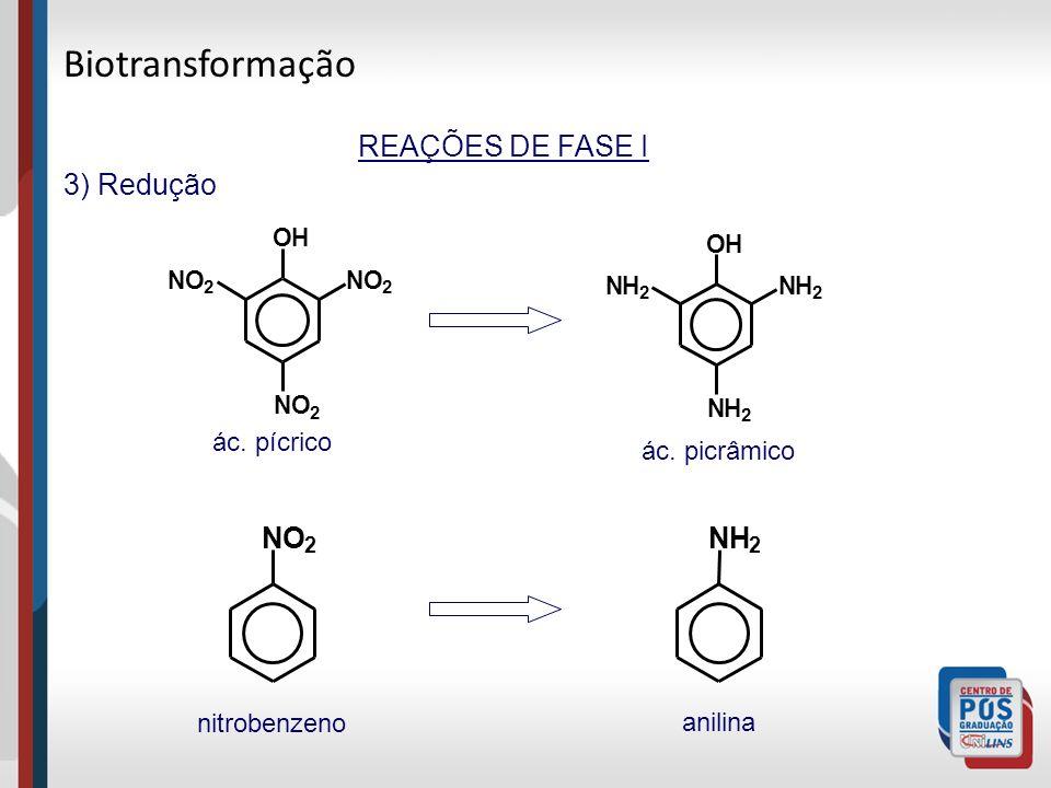 REAÇÕES DE FASE I 3) Redução NO 2 NO 2 NO 2 OH NH 2 NH 2 NH 2 OH NO 2 NH 2 ác. pícrico ác. picrâmico nitrobenzeno anilina Biotransformação