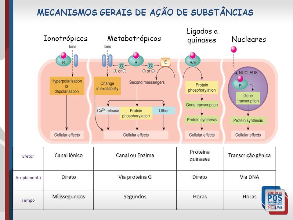 MECANISMOS GERAIS DE AÇÃO DE SUBSTÂNCIAS IonotrópicosMetabotrópicos Ligados a quinases Nucleares Efetor Canal iônico Canal ou Enzima Proteína quinases Transcrição gênica AcoplamentoDireto Via proteína G Direto Via DNA TempoMilissegundosSegundosHorasHoras