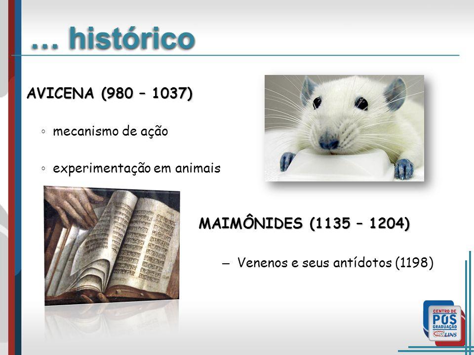 MAIMÔNIDES (1135 – 1204) – Venenos e seus antídotos (1198) … histórico AVICENA (980 – 1037) mecanismo de ação experimentação em animais