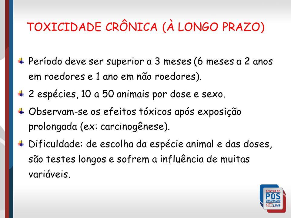 Período deve ser superior a 3 meses (6 meses a 2 anos em roedores e 1 ano em não roedores).
