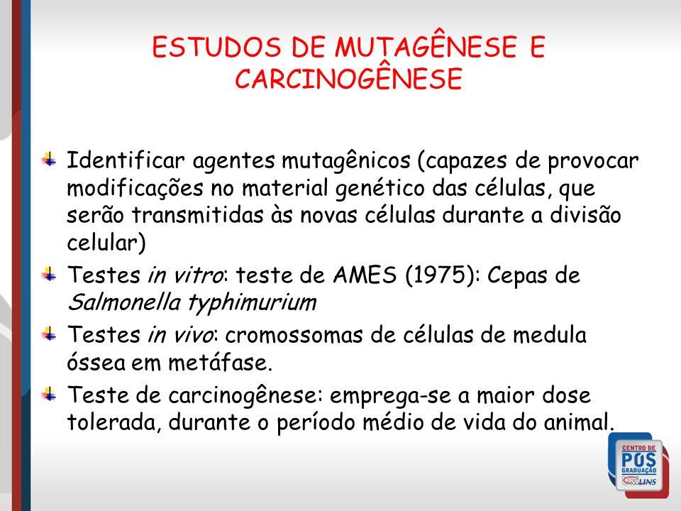 Identificar agentes mutagênicos (capazes de provocar modificações no material genético das células, que serão transmitidas às novas células durante a divisão celular) Testes in vitro: teste de AMES (1975): Cepas de Salmonella typhimurium Testes in vivo: cromossomas de células de medula óssea em metáfase.