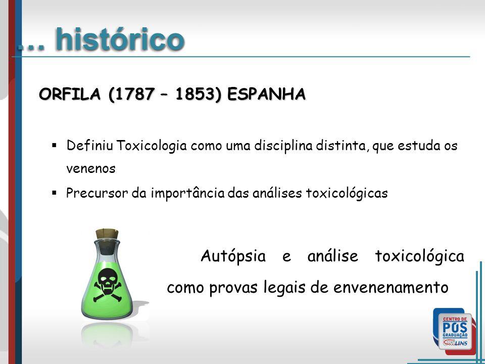 ORFILA (1787 – 1853) ESPANHA Definiu Toxicologia como uma disciplina distinta, que estuda os venenos Precursor da importância das análises toxicológicas Autópsia e análise toxicológica como provas legais de envenenamento … histórico
