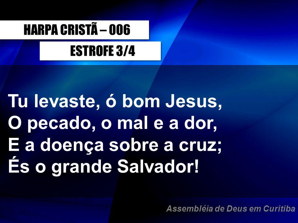 ESTROFE 3/4 Tu levaste, ó bom Jesus, O pecado, o mal e a dor, E a doença sobre a cruz; És o grande Salvador! HARPA CRISTÃ – 006 Assembléia de Deus em