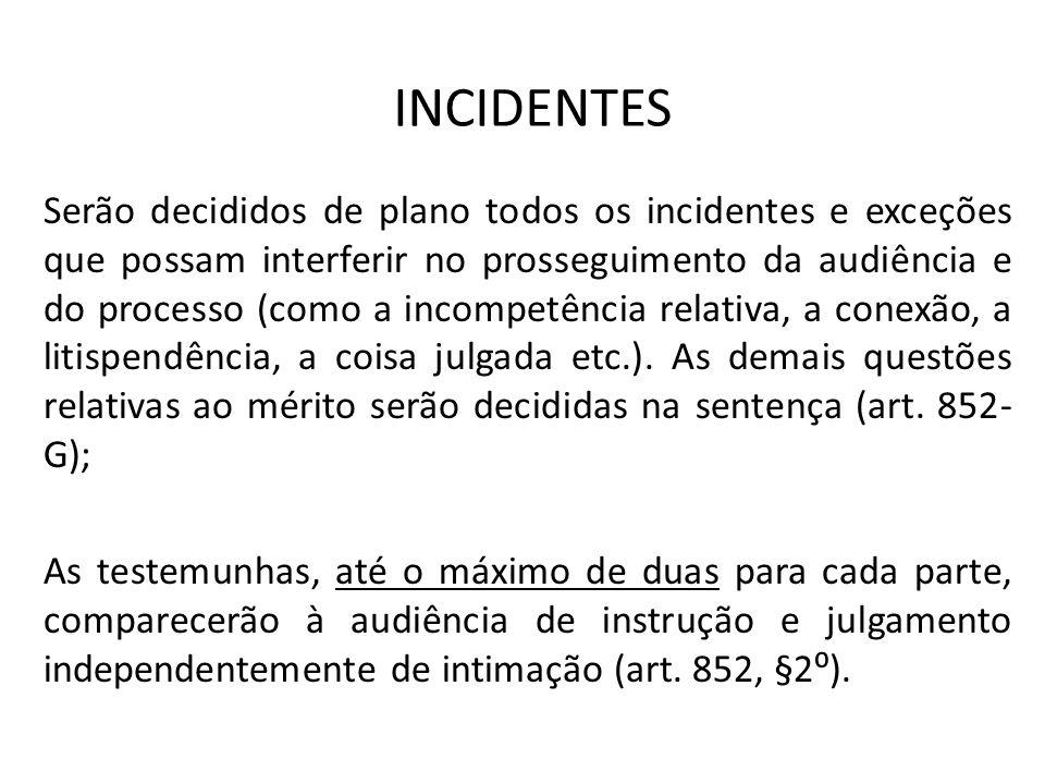 INCIDENTES Serão decididos de plano todos os incidentes e exceções que possam interferir no prosseguimento da audiência e do processo (como a incompet