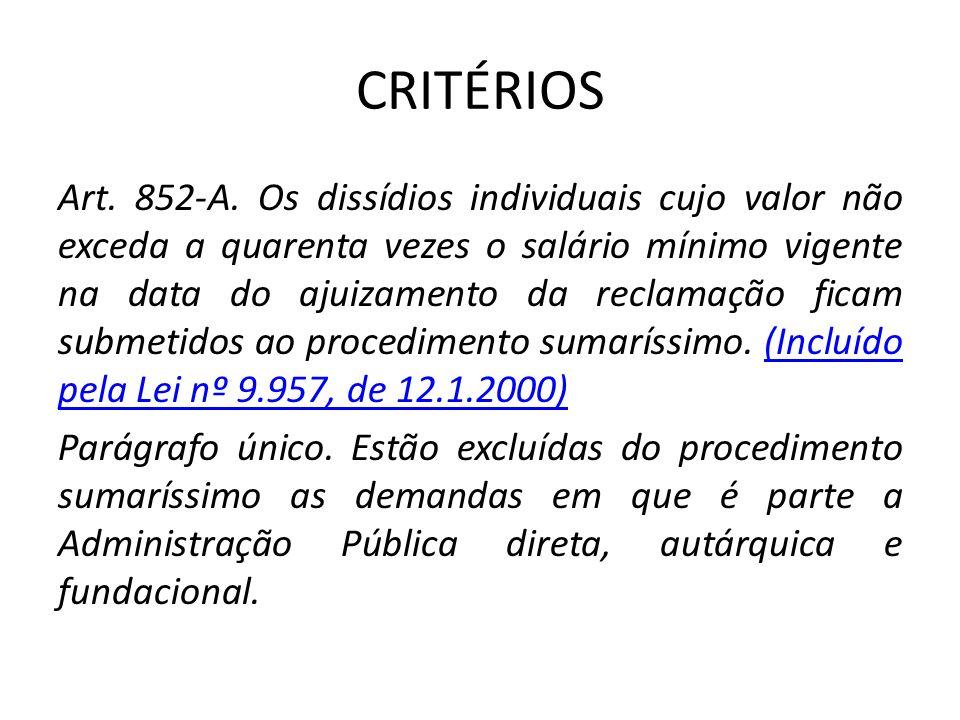 CRITÉRIOS Art. 852-A. Os dissídios individuais cujo valor não exceda a quarenta vezes o salário mínimo vigente na data do ajuizamento da reclamação fi