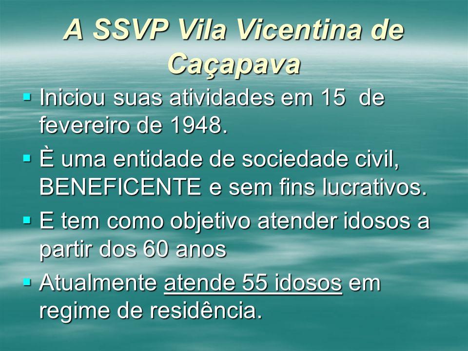 A SSVP Vila Vicentina de Caçapava Iniciou suas atividades em 15 de fevereiro de 1948. Iniciou suas atividades em 15 de fevereiro de 1948. È uma entida