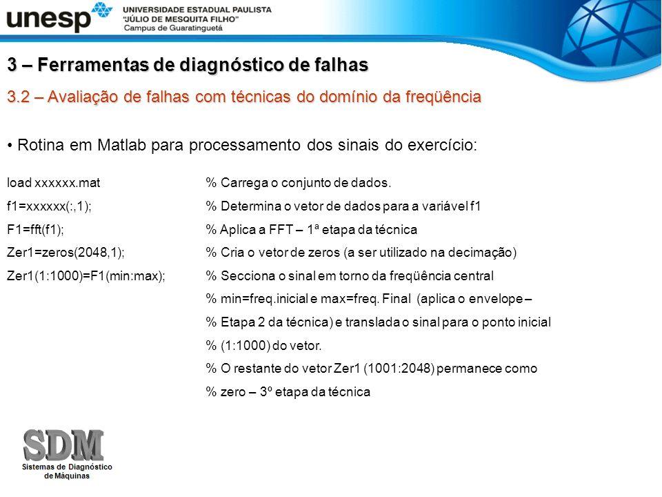3.2 – Avaliação de falhas com técnicas do domínio da freqüência Rotina em Matlab para processamento dos sinais do exercício: load xxxxxx.mat % Carrega
