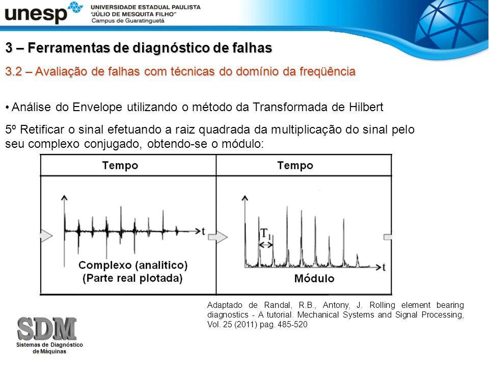 3.2 – Avaliação de falhas com técnicas do domínio da freqüência Rotina em Matlab para processamento dos sinais do exercício: load xxxx.mat% Carrega o vetor de dados Sinal=xxxxx(1:10000); % Define a amostra de 10000 pontos) t = [0:0.0001:0.9999]; % Definindo um vetor temporal de 10000 pontos sinal_hb = hilbert(sinal); % Transformada de Hilbert envelope = sqrt(sinal_hb.*conj(sinal_hb)); % Retifica o resultado da transformada de hilbert tem2=abs(fft(envelope)); % FFT sobre o sinal filtrado (hilbert) + retificado 3 – Ferramentas de diagnóstico de falhas