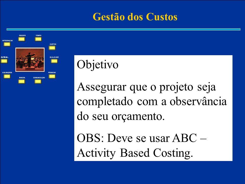 Gestão dos Custos Objetivo Assegurar que o projeto seja completado com a observância do seu orçamento. OBS: Deve se usar ABC – Activity Based Costing.