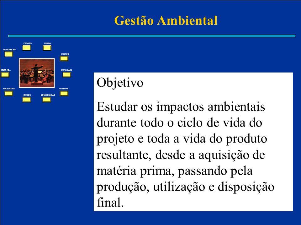 Gestão Ambiental Objetivo Estudar os impactos ambientais durante todo o ciclo de vida do projeto e toda a vida do produto resultante, desde a aquisiçã