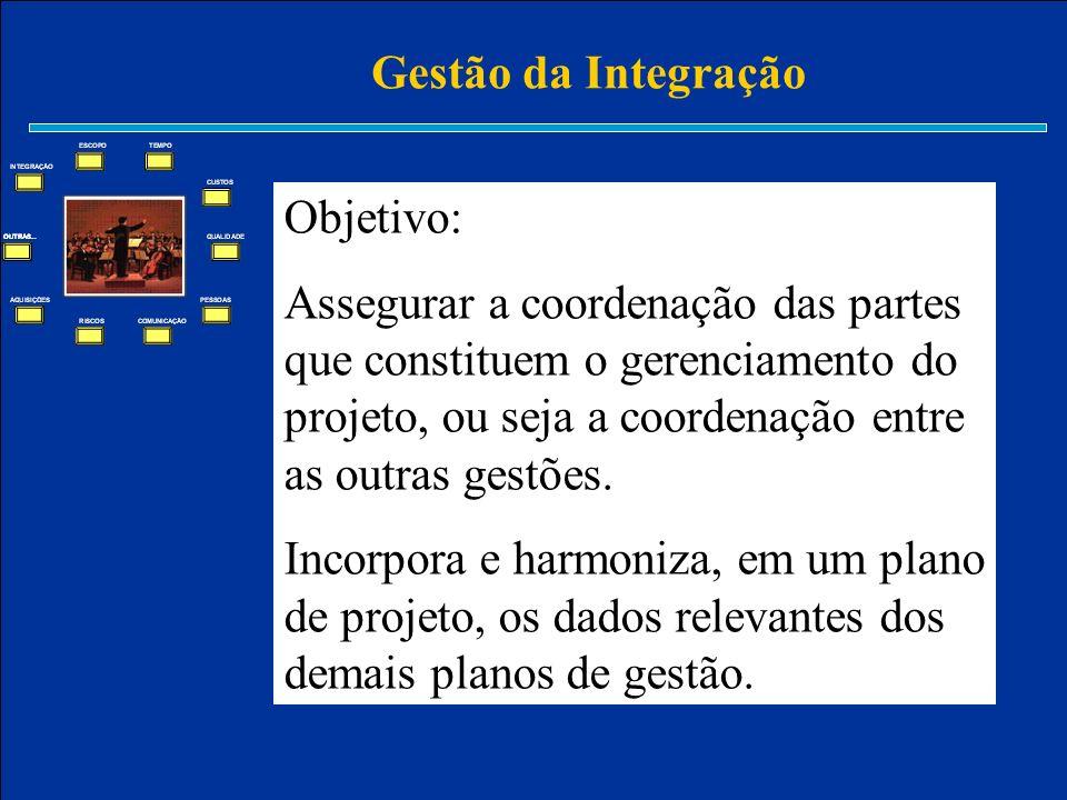 Gestão da Integração Objetivo: Assegurar a coordenação das partes que constituem o gerenciamento do projeto, ou seja a coordenação entre as outras ges