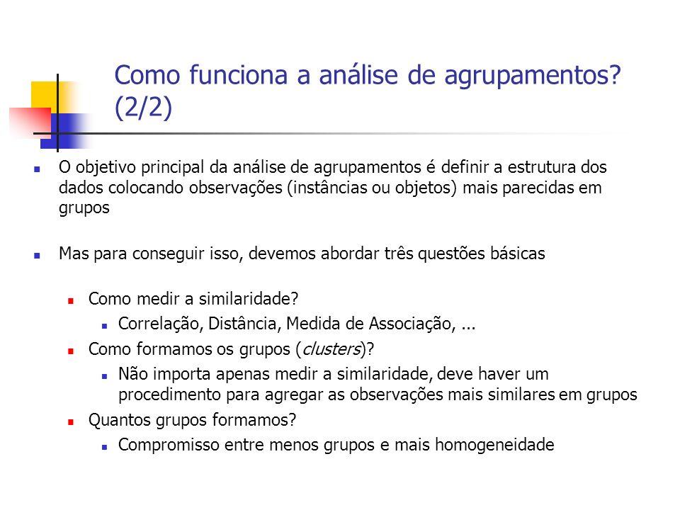 Como funciona a análise de agrupamentos? (2/2) O objetivo principal da análise de agrupamentos é definir a estrutura dos dados colocando observações (