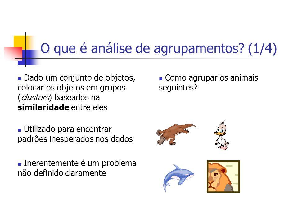 O que é análise de agrupamentos? (1/4) Dado um conjunto de objetos, colocar os objetos em grupos (clusters) baseados na similaridade entre eles Utiliz